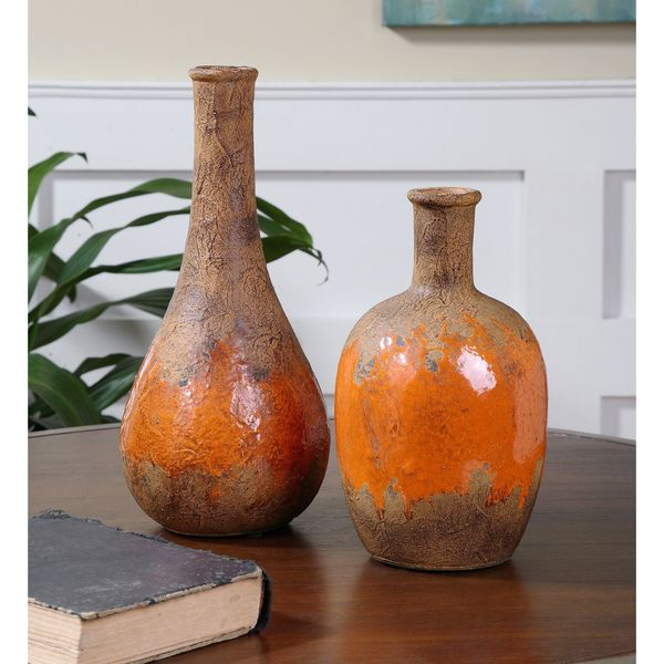 Shop Uttermost Kadam Orange Ceramic Vases Set Of 2 Free Shipping