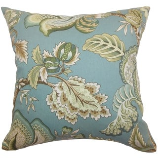 Bryda Turquoise Floral 18-inch Feather and Down Filled Throw Pillow