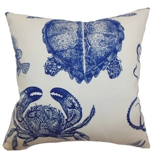 Emilia Navy Coastal Animals 18-inch Feather and Down Filled Throw Pillow