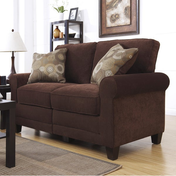 Serta RTA Trinidad Collection 61-inch Chocolate Fabric Loveseat ...