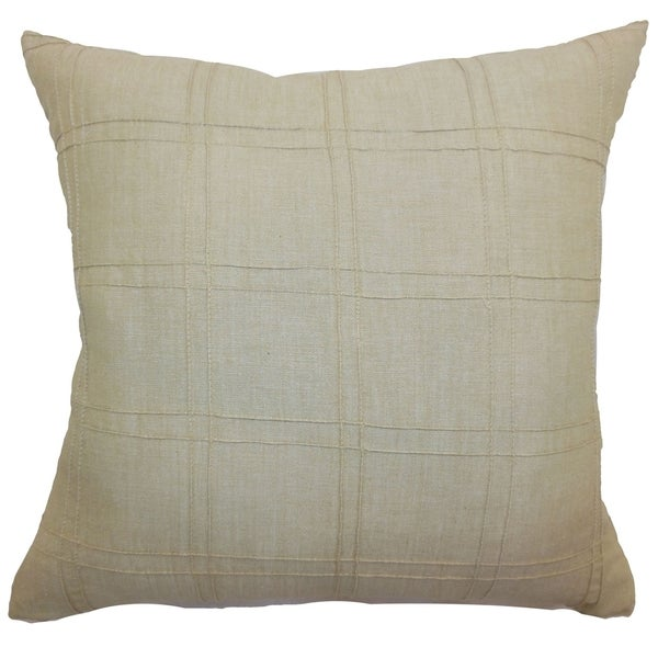 Yachne Beige Ribbed Feature Filled Throw Pillow
