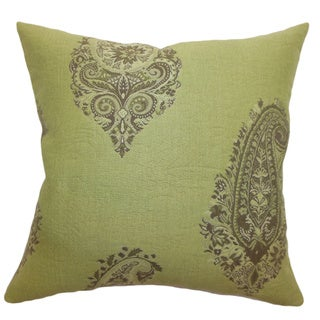 Marina Lime Paisley 18-inch Down Filled Throw Pillow