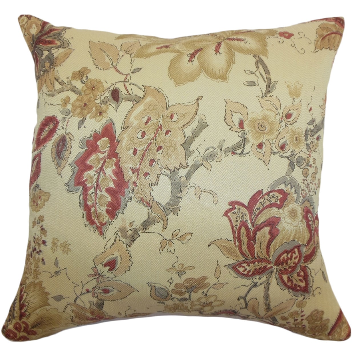 Helena Burgundy Floral 18 Inch Down Filled Throw Pillow Overstock 9091342