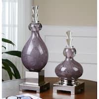 Uttermost Charoite 2-piece Purple Glass Bottle Set