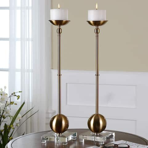 Uttermost Laton Brushed Brass Candle Holders (Set of 2)