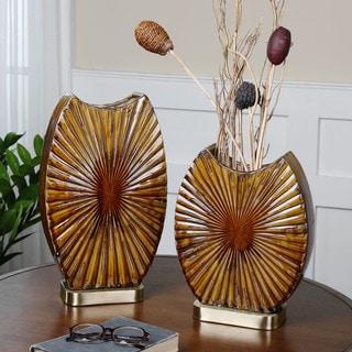 Uttermost Zarina Marbled Brown 2-piece Ceramic Vase Set
