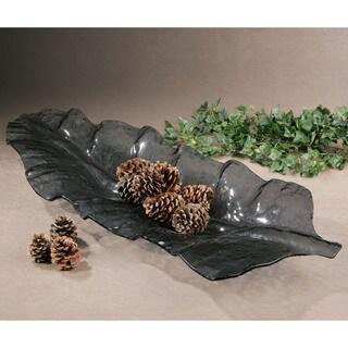 Uttermost Smoke Grey Leaf-shaped Glass Tray