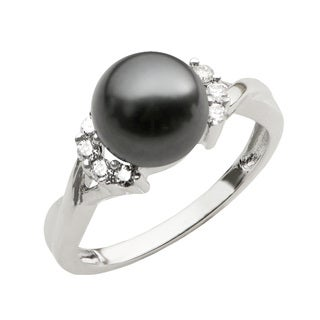 Pearls For You 14k White Gold 1/6ct TDW Diamond and Black Tahitian Pearl Ring (H-I, I2-I3) (8-9 mm)