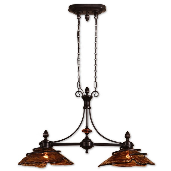 Shop Uttermost Vitalia Light Metal Glass And Resin Kitchen Island - 2 light island chandelier