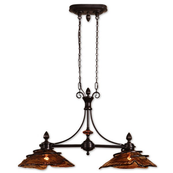 Uttermost Vitalia 2-light Metal, Glass and Resin Kitchen Island Lighting Fixture