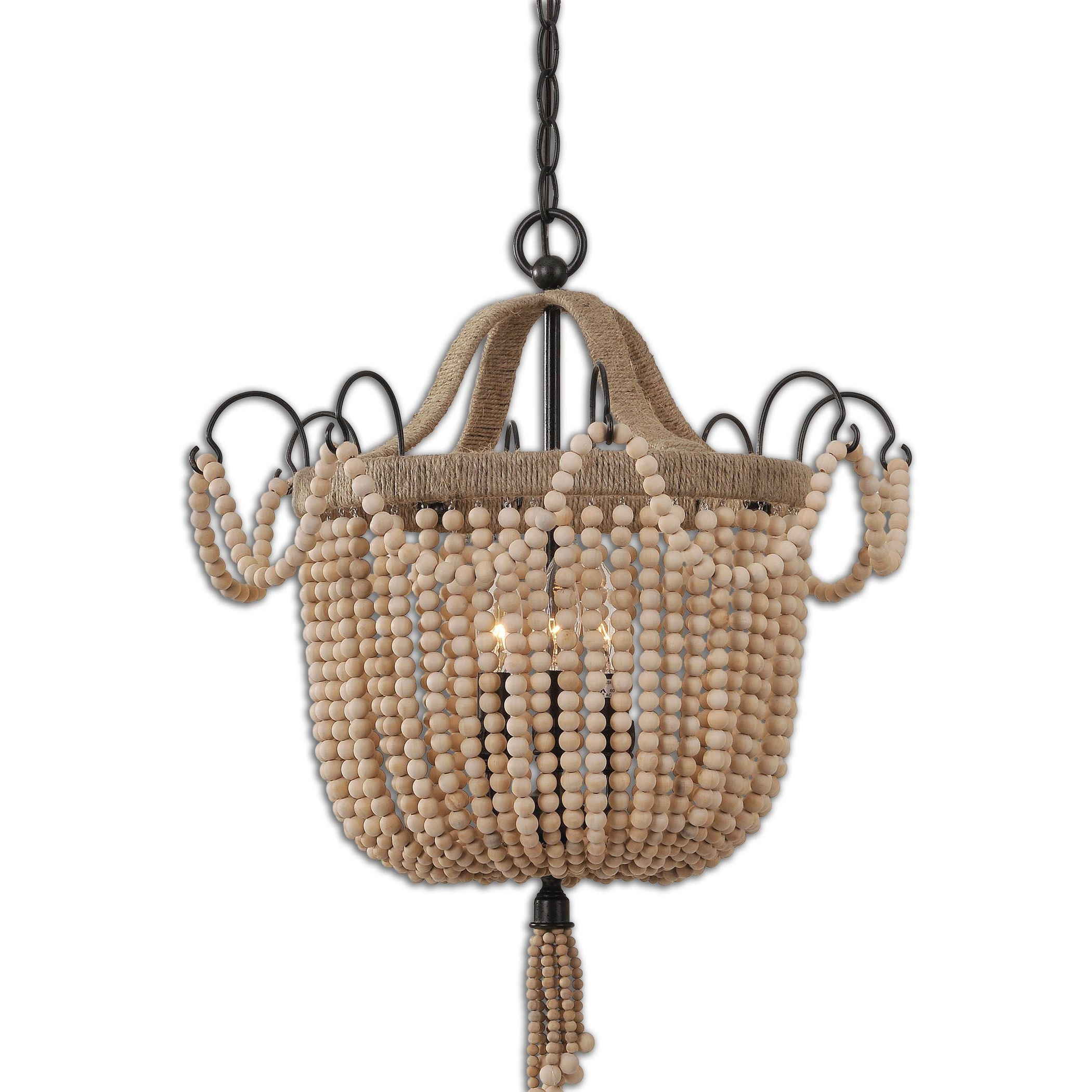 Uttermost Civenna 3-light Metal Wood Rope Pendant