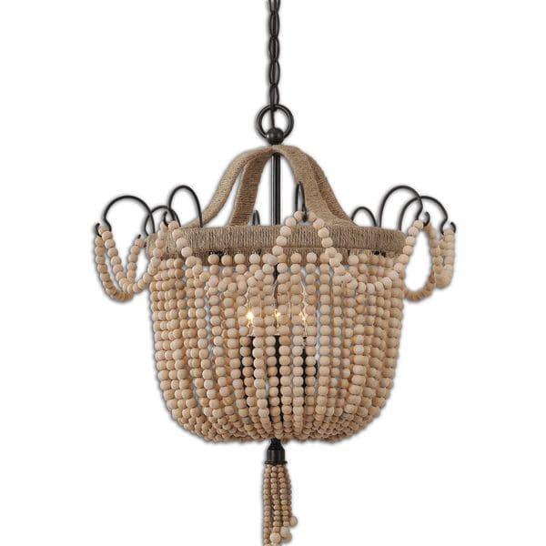 uttermost civenna 3 light metal wood rope pendant free shipping