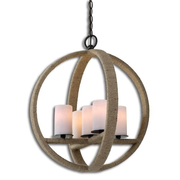 Uttermost gironico round 5 light metal glass rope lighting fixture uttermost gironico round 5 light metal glass rope lighting fixture pendant mozeypictures Images