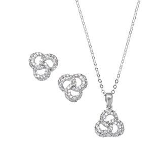 La Preciosa Sterling Silver Cubic Zirconia Triple Circle Earrings and Pendant Set