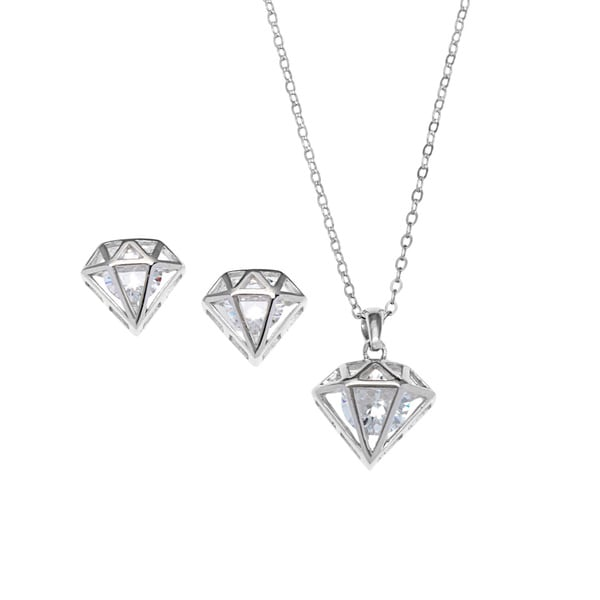 La preciosa sterling silver cubic zirconia diamond shaped earrings la preciosa sterling silver cubic zirconia diamond shaped earrings and pendant necklace set aloadofball Image collections