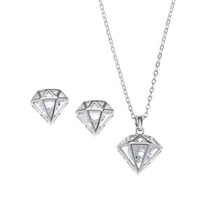 La Preciosa Sterling Silver Cubic Zirconia Diamond-shaped Earrings and Pendant Necklace Set