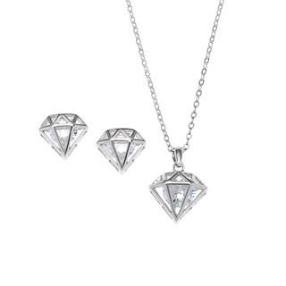 La Preciosa Sterling Silver Cubic Zirconia Diamond-shaped Earrings and Pendant Necklace Set