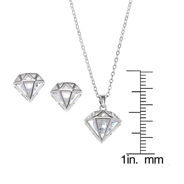 """New Silver Tone Cubic Zirconia Pearl Pendant Earring Set Necklace Chain 18/"""""""