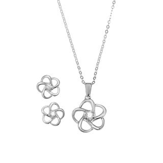 La Preciosa Sterling Silver Cubic Zirconia Flower Earrings and Pendant Set