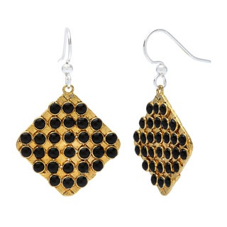 Brass Biji Black Bead Grid Earrings