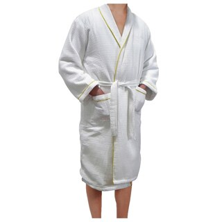 European Spa & Bath White Waffle Weave Terry Cloth Robe with Gold Embroidered Trim