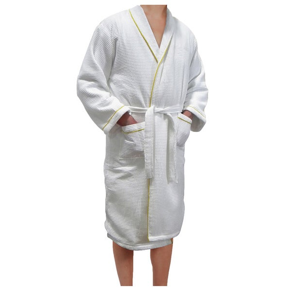 Shop European Spa   Bath White Waffle Weave Terry Cloth Robe with Gold  Embroidered Trim - Free Shipping Today - Overstock - 9091612 472f8485b