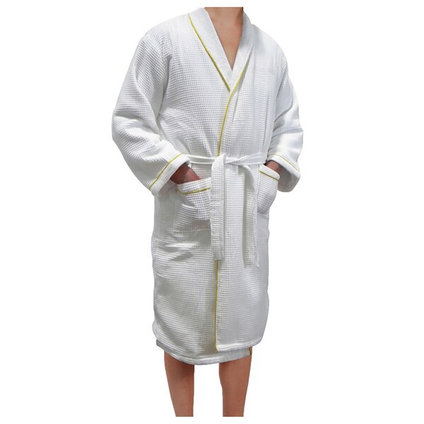 90e06dc20e Shop European Spa   Bath White Waffle Weave Terry Cloth Robe with Gold  Embroidered Trim - Free Shipping Today - Overstock - 9091612