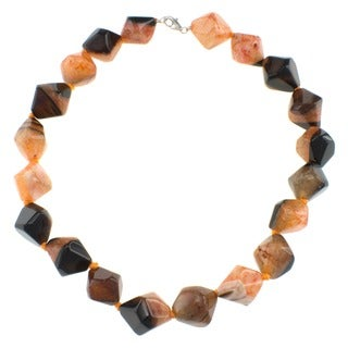 Pearlz Ocean Orange Crystal Agate Cube Necklace Jewelry for Womens
