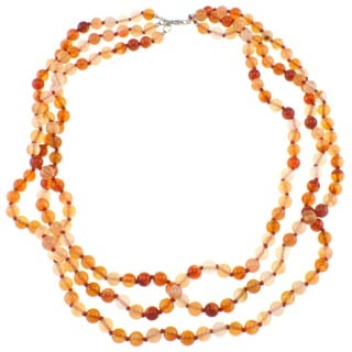 Pearlz Ocean Triple Strand Knotted Carnelian Beaded Necklace
