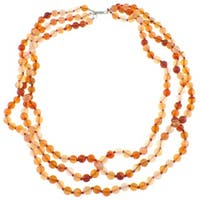Pearlz Ocean Triple Strand Knotted Carnelian Beaded Necklace Jewelry for Womens