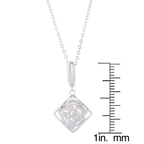 Square Pendant 925 Sterling Silver Pink /& White CZ Cubic Zirconia