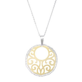 La Preciosa Sterling Silver Two-tone Circle Pendant
