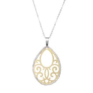 La Preciosa Sterling Silver Two-tone Teardrop Pendant Necklace