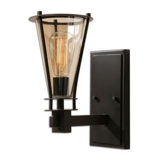 Uttermost Frisco 1-light Rustic Black/ Cognac Tinted Glass Wall Sconce