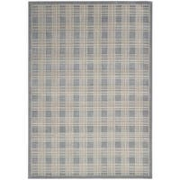 kathy ireland Hollywood Shimmer Americana Mission Craft Blue Area Rug by Nourison - 9'3 x 12'9