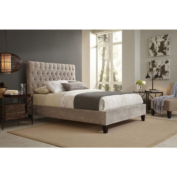 Shop Reims Queen Size Beige Upholstered Bed Free