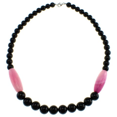 Pearlz Ocean Sterling Silver Black and Pink Agate Necklace Jewelry for Womens