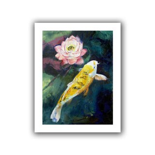 Michael Creese 'Koi and Lotus Flower' Unwrapped Canvas - Multi