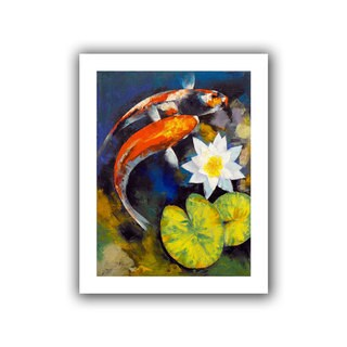 Michael Creese 'Koi Fish and Water Lily' Unwrapped Canvas - Multi