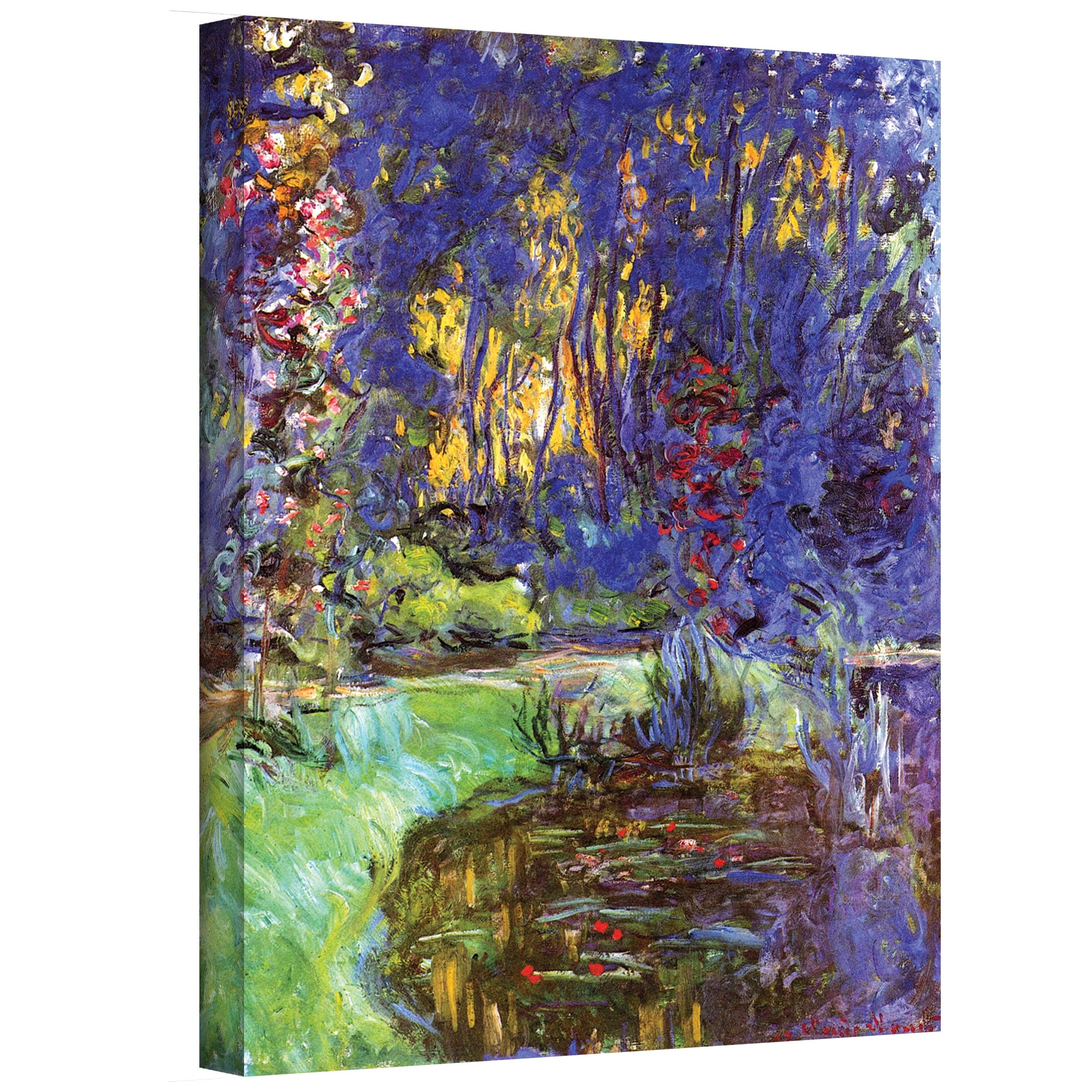 Monet Bridge Over Sea Rose Pond Wood Framed Canvas Print Repro 8x10