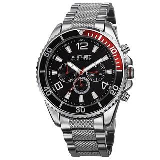 August Steiner Men's Swiss Quartz Multifunction Silver-Tone Bracelet Watch