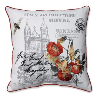 Castle Print and Embroidered Orange Flowers 18-inch Corded Linen Blend Throw Pillow