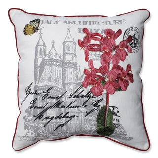 Embroidered Pink Flowers and Castle Print 18-inch Corded Linen Blend Throw Pillow