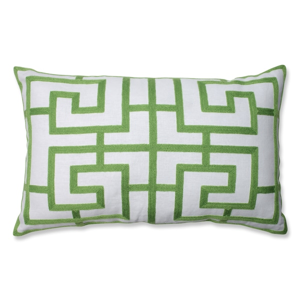 Embroidered Green Geometric Rectangular Linen Blend Throw Pillow - Free Shipping On Orders Over ...