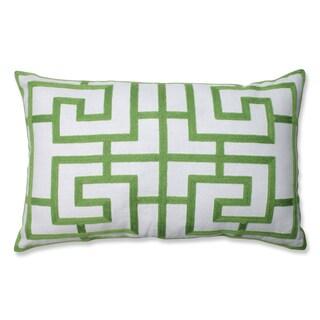 Embroidered Green Geometric Rectangular Linen Blend Throw Pillow