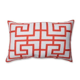 Embroidered Pink Geometric Rectangular Linen Blend Throw Pillow
