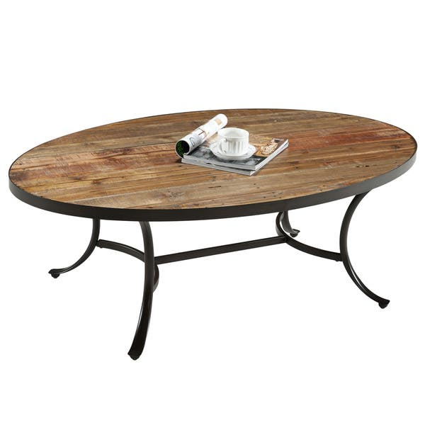 Carbon Loft Moscovitz Rustic Wood Oval Coffee Table