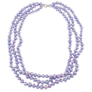 Pearlz Ocean Triple Strand Purple Freshwater Pearl Necklace (7-8 mm)