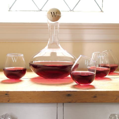 Personalized 5-piece Wine Decanter & Tipsy Tasters Set