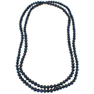Pearlz Ocean Deep Blue Freshwater Endless Pearl Necklace (7-8 mm)